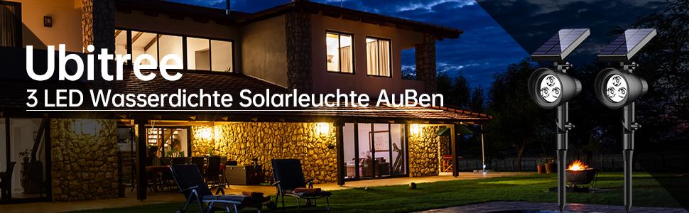 Ausla Solares Unterwasserlicht Terrasse 18 LEDs Solar Spotlight Licht Au/ßenbeleuchtung f/ür Garten Brunnen 3 Scheinwerfer Wei/ß Liegewiese