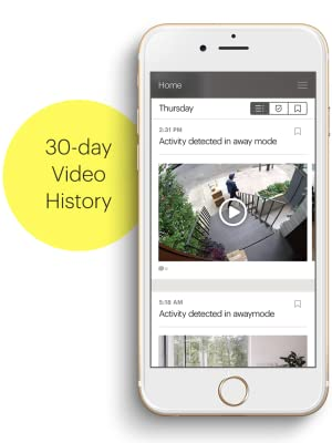 Canary App, smartphone, video history