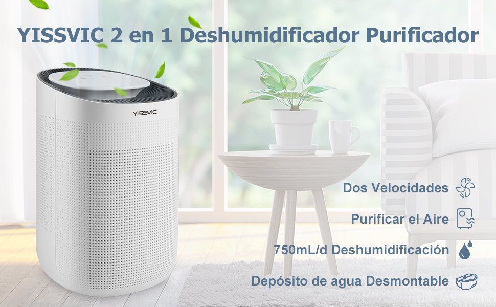 YISSVIC Deshumidificador Purificador 2 en 1 Mini Deshumidificador ...