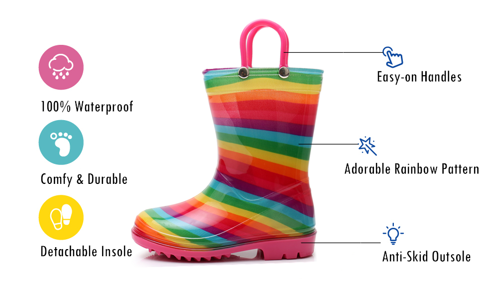 TRIPLE DEER Girl Rainbow Rain Boots Kids Lightweight Cute Waterproof Raining Shoes with Easy-on Handles