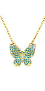 Squisita collana farfalla blu