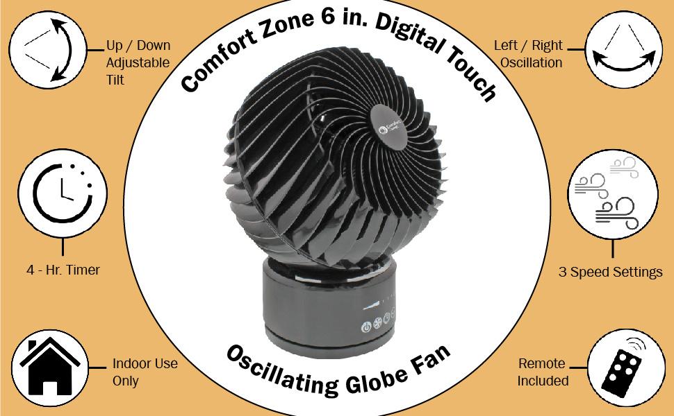 Comfort Zone Oscillating Desk Fan