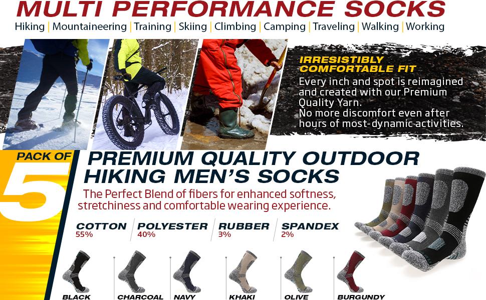 HIKING OUTDOOR MOISTURE WICKING COTTON CREW SOCKS FOR MEN WOMEN WINTER WARM SOFT