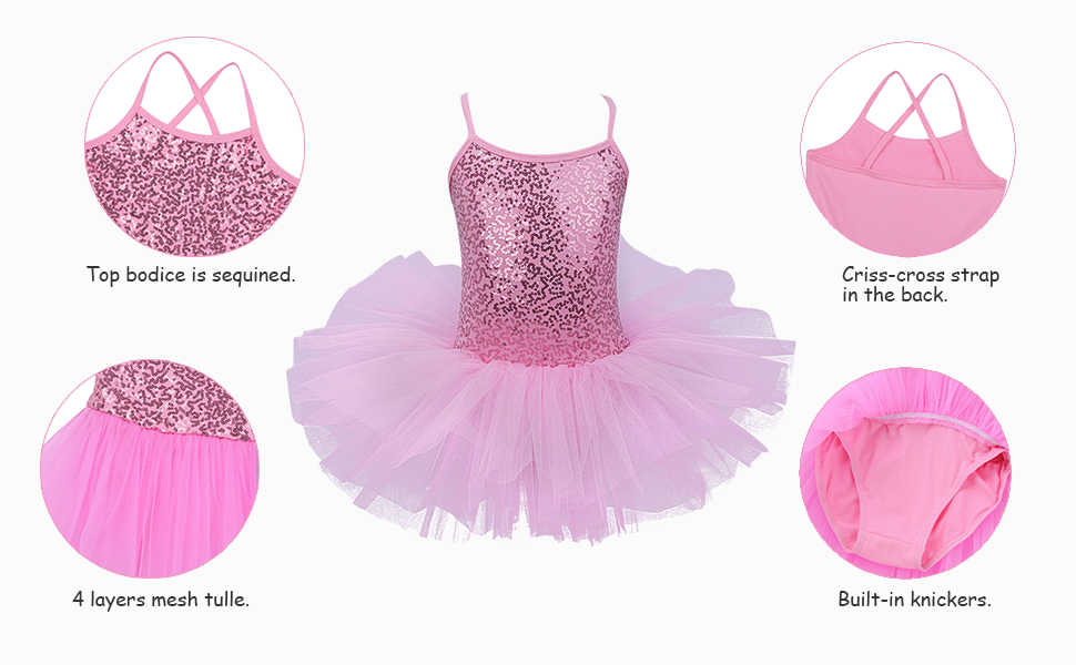 iixpin Kids Girls Ballet Professional Dancewear Sequined Dance Tutu Dress Ballerina Gloves with Hair Clips Set