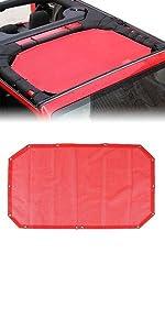 Sunshade for 2007-2018 Jeep Wrangler JK or JKU2 Door Plain Red