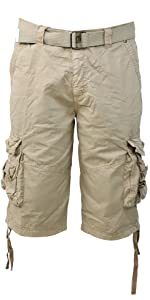 belt cargo shorts 100% cotton men's mens casual multi pockets