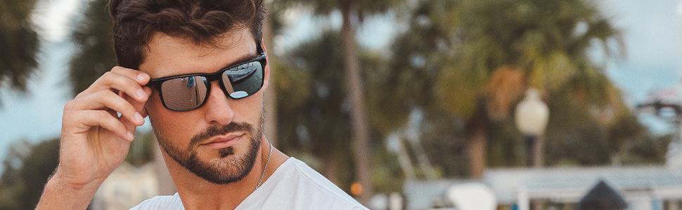 Man wearing Fuse +Plus Chrome lenses outdoors