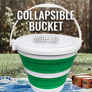 Collapsible Bucket with Lid layed out in the yard next giant lawn dice set