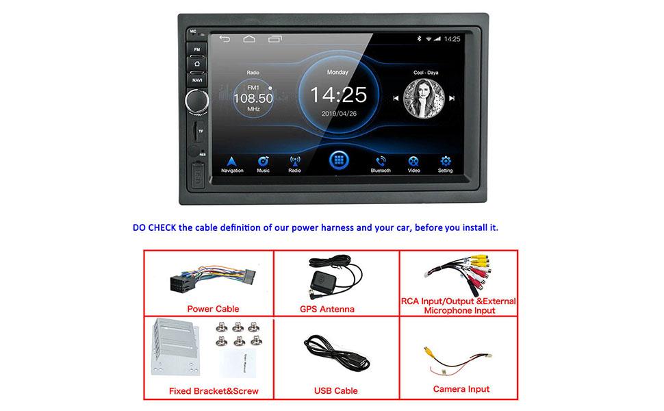 WiFi /écran Tactile Prise en Charge USB SD LEXXSON 7 pouces Android 8.1 Double Din voiture st/ér/éo GPS Navigation avec Bluetooth MirrorLink RDS DAB