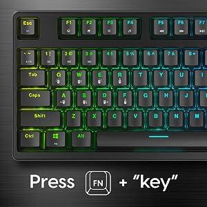 NOVA Optical PRO Mechanical Gaming Keyboard with FN function keys for multi-media