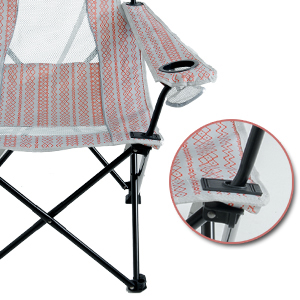 High Seat Folding Camping Beach Chair Cup Holder Pillow Mesh Back for Outdoor Sports Pool Lawn Patio