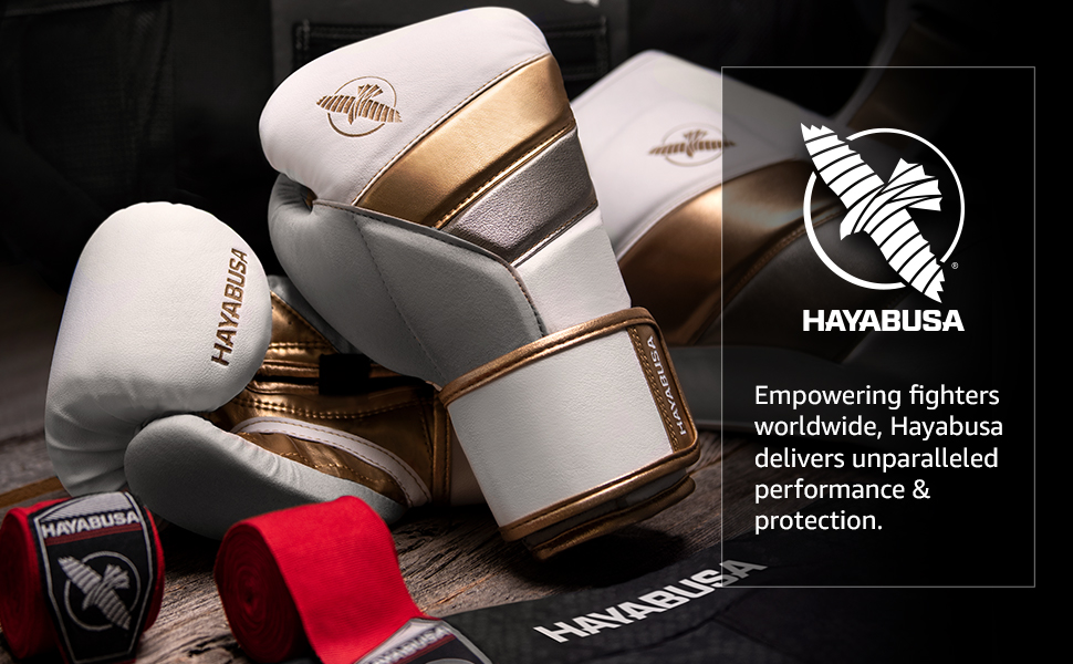 Boxing Gloves, Shin Guards, Hand Wraps, White, Gold, Red