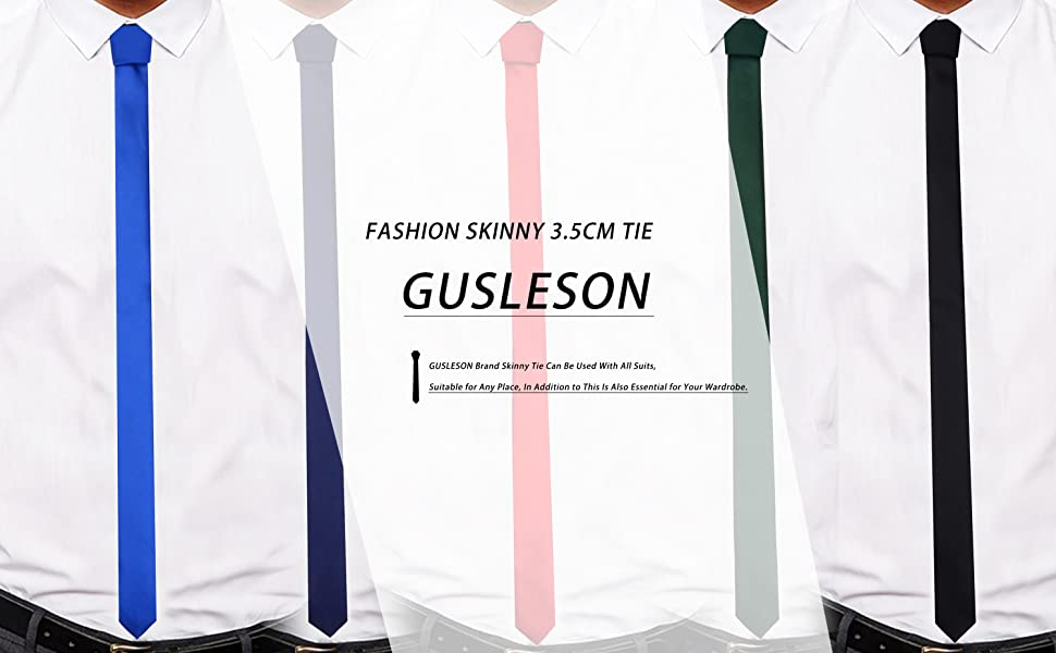 Mens Fashion Casual Slim Fit Necktie Solid Skinny Tie Formal Wedding Party Ties