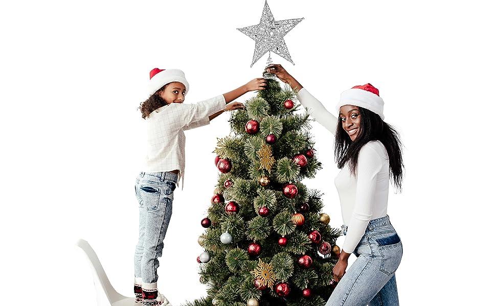 star silver christmas tree topper