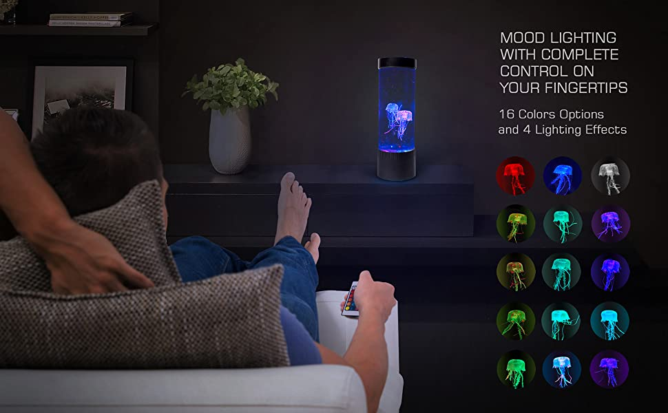 Mood Lighting Remote control 16 color lighting options 4 lighting effects jellyfish glow colors