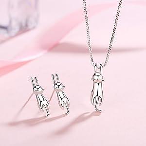 sterling silver jewely set cute cat kitty necklace earrings women girls hypoallergenic jewelry set