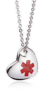 Heart Medical Alert Necklace for Women