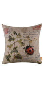 LINKWELL 45x45cm Seven-Spotted Ladybug Fern Pillow Cover