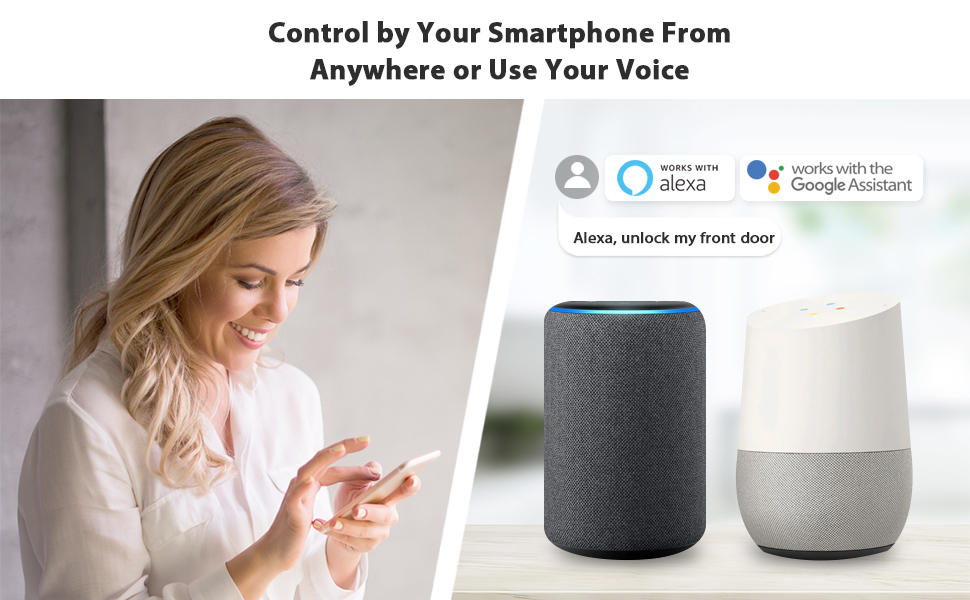 Control by Your Smartphone from anywhere or use your voice