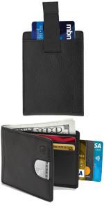 Leather Bifold Wallets For Men Slim Wallet RFID Minimalist Card Holder Front Pocket Mens Wallet