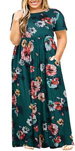 Nemidor Women Short Sleeve Loose Plain Casual Plus Size Long Maxi Dress with Pockets