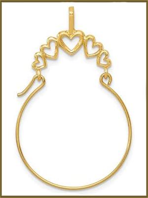 14K White Gold Polished 5-Heart Charm Holder Pendant