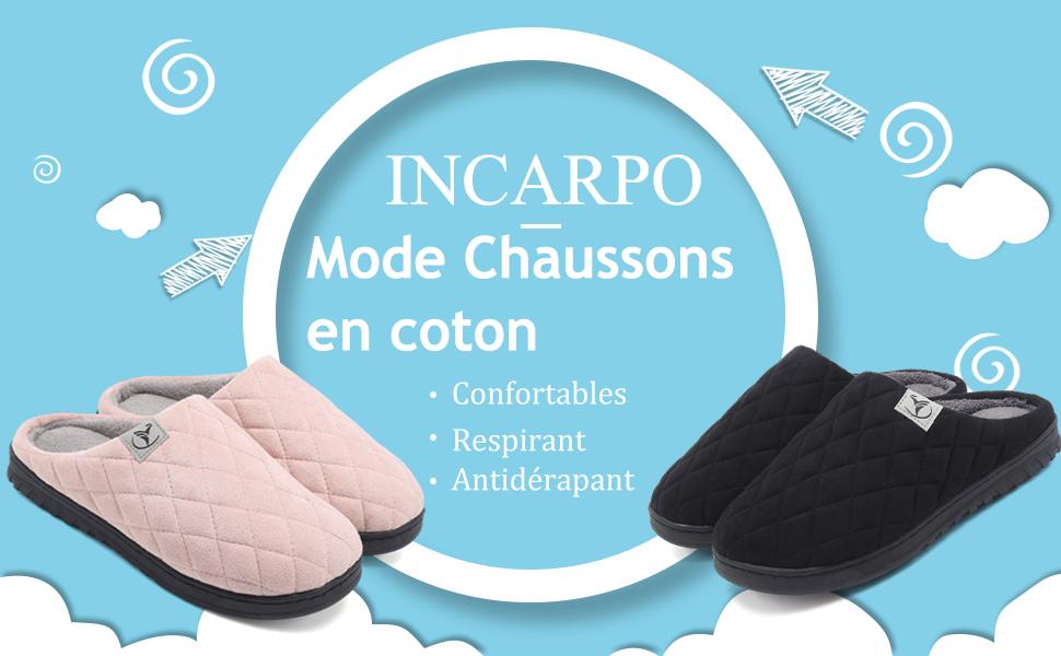 incarpo Chausson Femmes Mousse M/émoire Pantoufle Femmes Toison de Corail Laine Doublure Antid/érapant D/'int/érieur Dext/érieur Chaussons