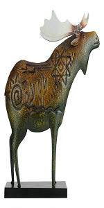 Metal Moose Statue with Base Animal Figurine