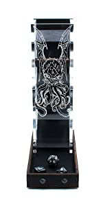 C4Labs Tall Classic Dice Rolling Tower Clear Tray Acrylic Wood Cthulhu lovecraft arkham horror