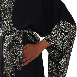 NOVICA Black Batik Printed Handmade Robe, midnight rose, black elegant wrap & tie long robe, womens