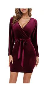 Velvet Batwing Sleeve Dress