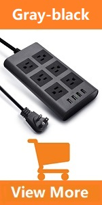 Gray Black plug board surge protector right angled