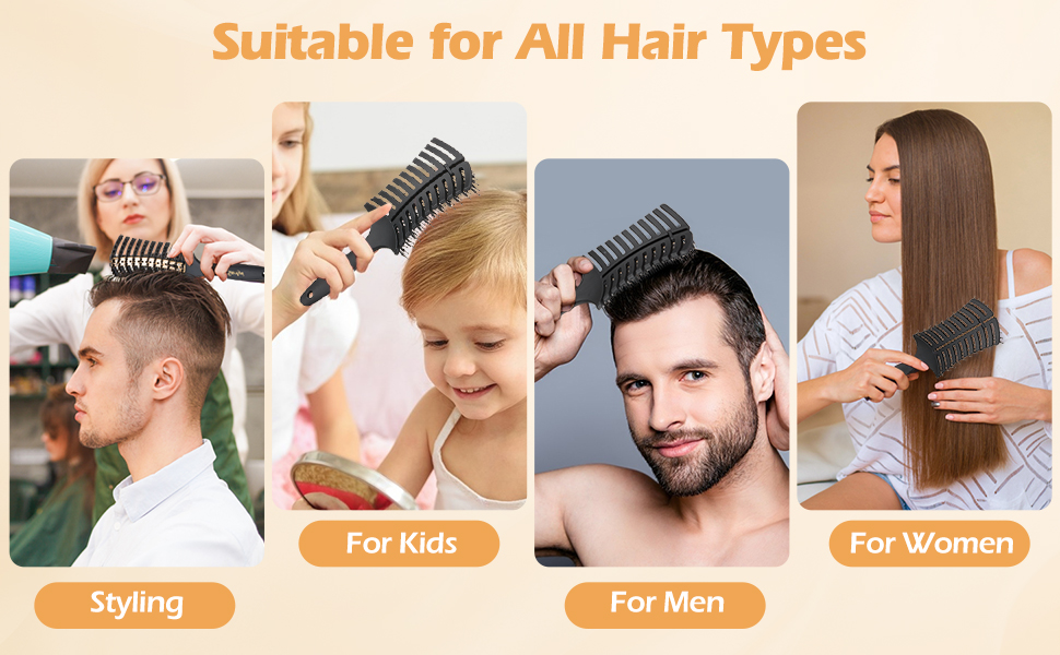 Detangling brush for wet, dry, thick, thin, straight, curly, long, short hair.