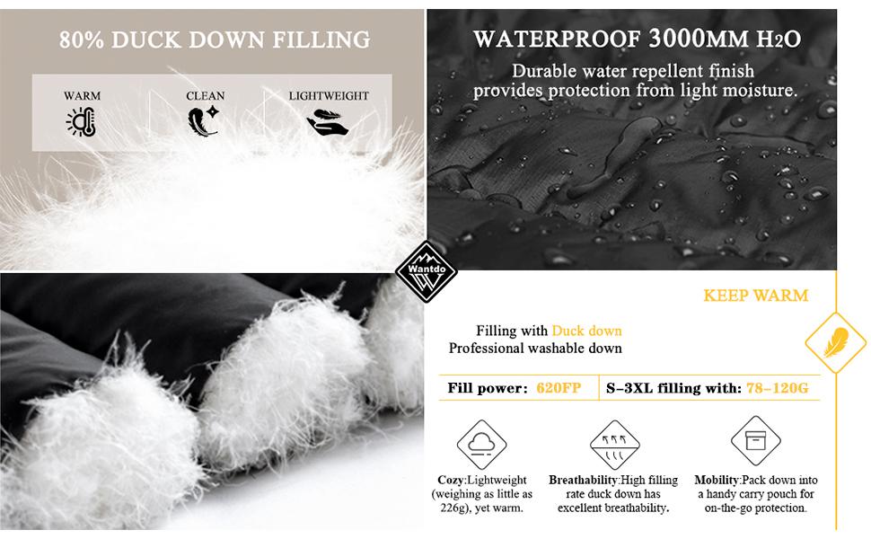 waterproof windproof duck down filling