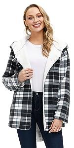 Selowin Women Fleece Fuzzy Faux Cardigan Outwear