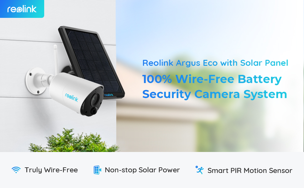 1080P Wire Free Security Camera Outdoor Battery Powered Argus Eco+Solar Panel