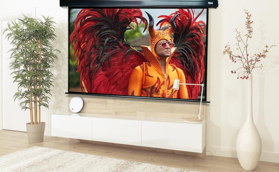 pantalla de proyeccion luxscreen con mando a distancia, pantalla de proyeccion ganancia de brillo