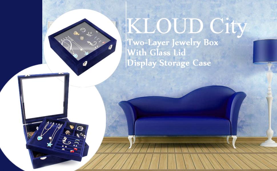KLOUD City Jewelry Box with Glass Lid Two-Layer Jewelry Box Organizer Display Storage case