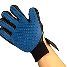 1. Put the True Touch Five Finger Deshedding Glove on and adjust hook and loop fastener.