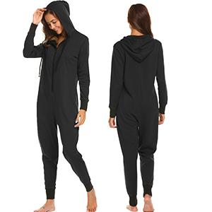 Ekouaer Women's Fleece Hooded Non Footed Onesie Pajama