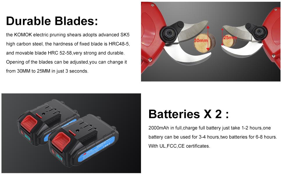 Tijeras de Repuesto para jard/ín Solo para 30mm Resistente y Resistente al /óxido KOMOK