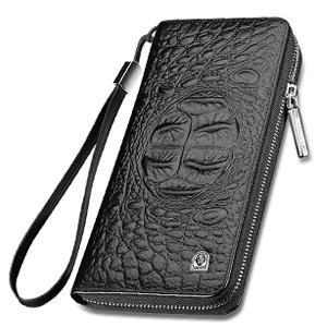 Mens Wallet Long Head Layer Cowhide Mens Wallet Clutch Bag Purse Black Brown