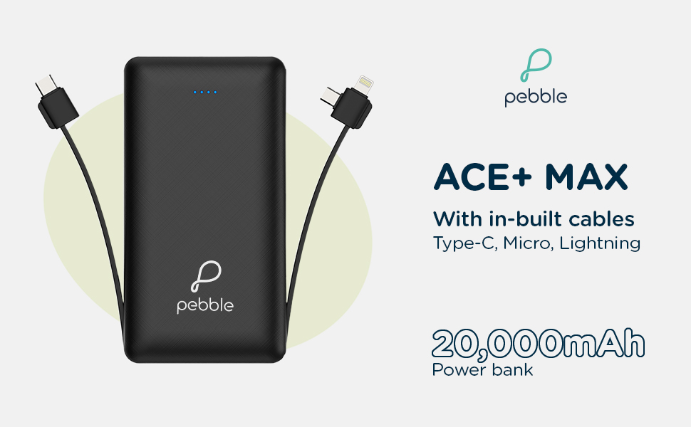 20000mAh power bank with in-built cable, TypeC, Micro, Lightning