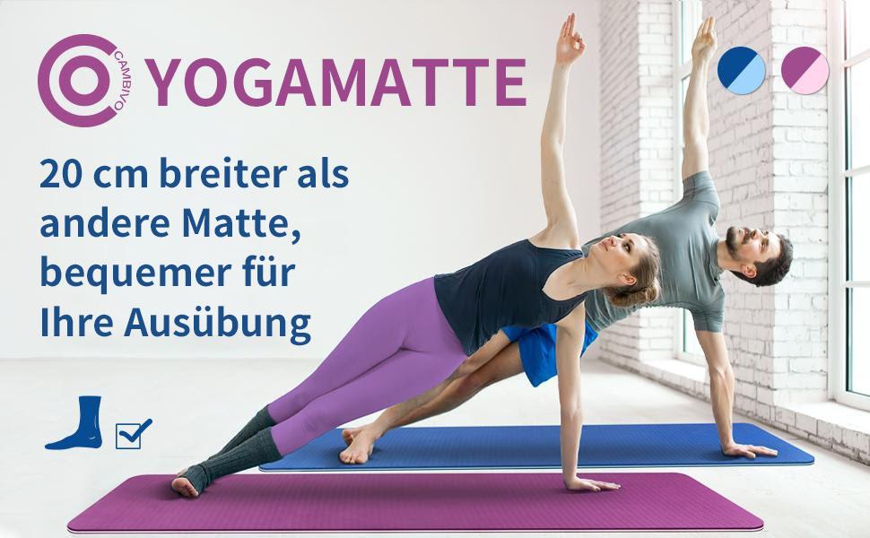 Gymnastik CAMBIVO Yogamatte Workout TPE Fitnessmatte rutschfest f/ür Sport Yoga 183cm x 81cm x 6mm Pilates Gymnastikmatte extra breit