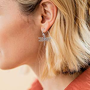 Boma Sterling Silver dragonfly dangle earrings