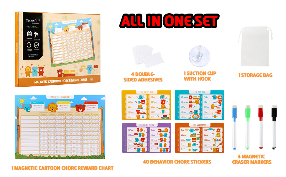 Magicfly Cartoon Behavior Chore Reward Chart for Multiple Kids Multiple Toddlers Dry Erase Easel Schedule Wall Sticker Magnets Family Calendar Potty Training Responsibility Magnetic Star Charts