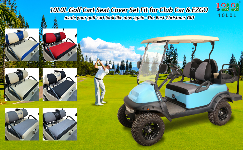 Amazon Com 10l0l Golf Cart Seat Cover Set Fit For Ezgo Txt Rxv Club Car Ds Bench Seat Covers Breathable Washable Polyester Mesh Cloth Gray Black Beige Red Blue Small Sports