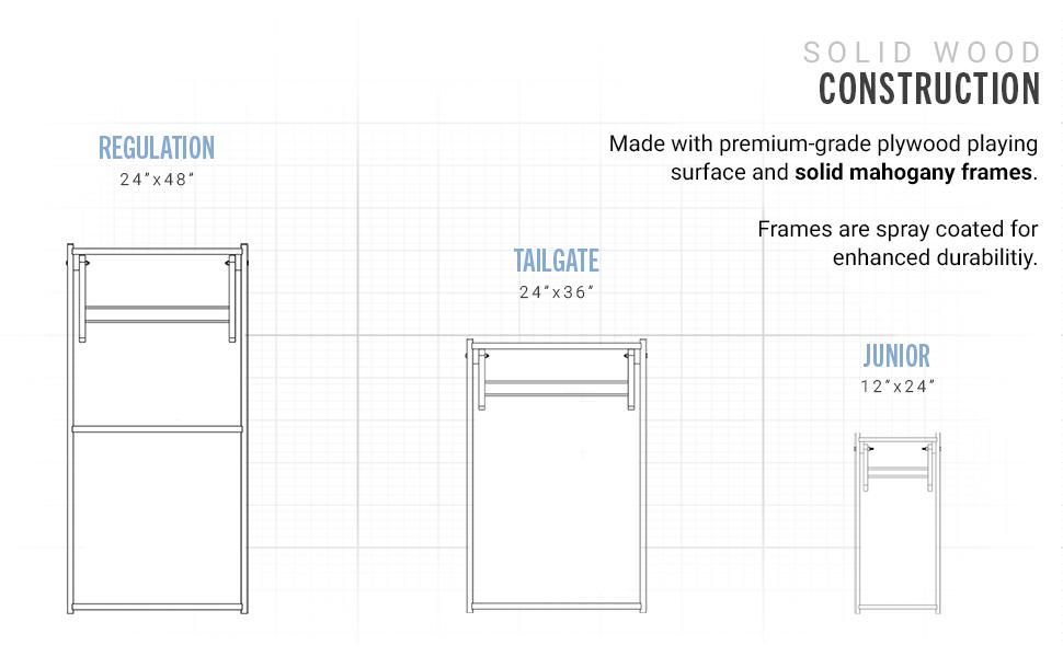 regulation size tailgate plain games cornhold solid wood toss pro 2 x 4 filler