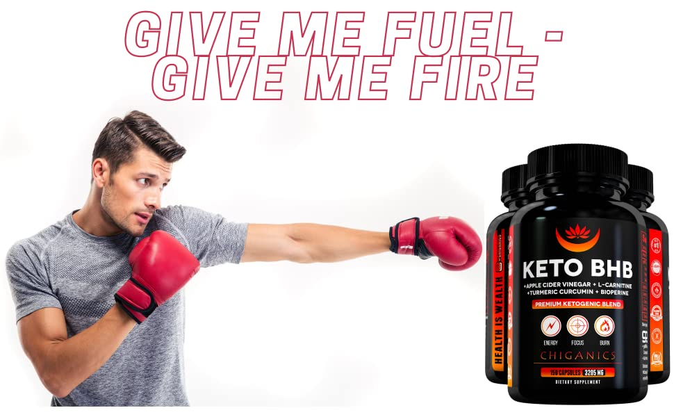 hot fit man boxing on keto bhb with l-carnitine and apple cider vinegar give me fuel give me fire