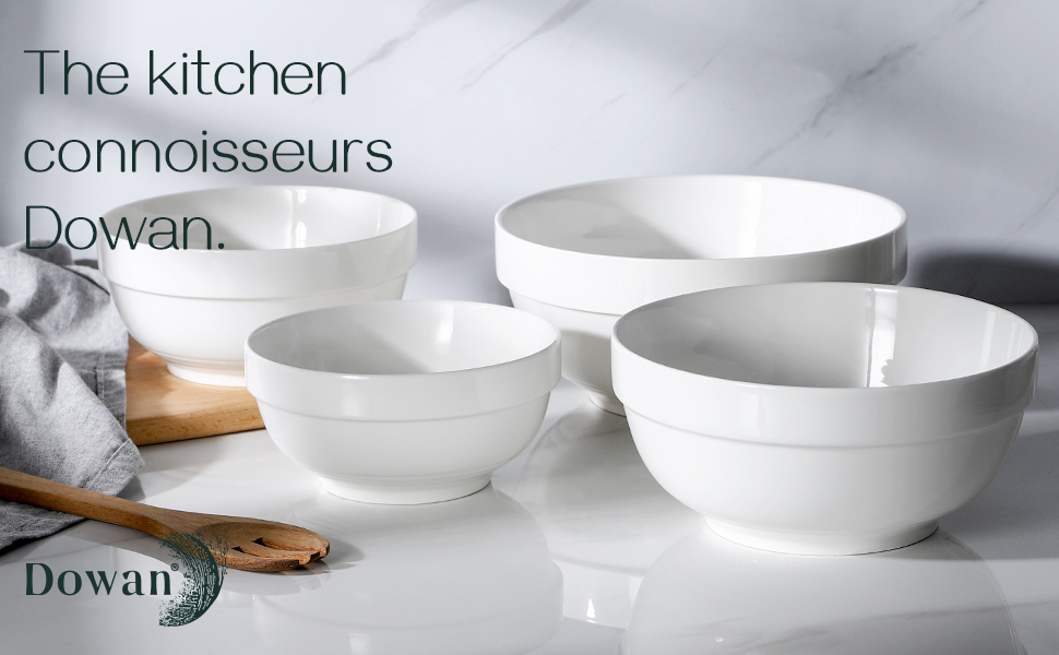 Amazon Com Dowan Porcelain Serving Bowls Large Serving Bowl Set 64 42 22 12 Ounce White Ceramic Bowls Prep Bowls For Kitchen Scratch Resistant Thick Edge Non Slip Design Oven Microwave Dishwasher Safe Kitchen Dining
